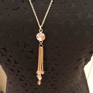 Handmade Pink Gold Gemstone Beaded Chain Necklace